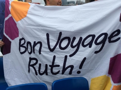 Banner with words 'Bon Voyage Ruth'