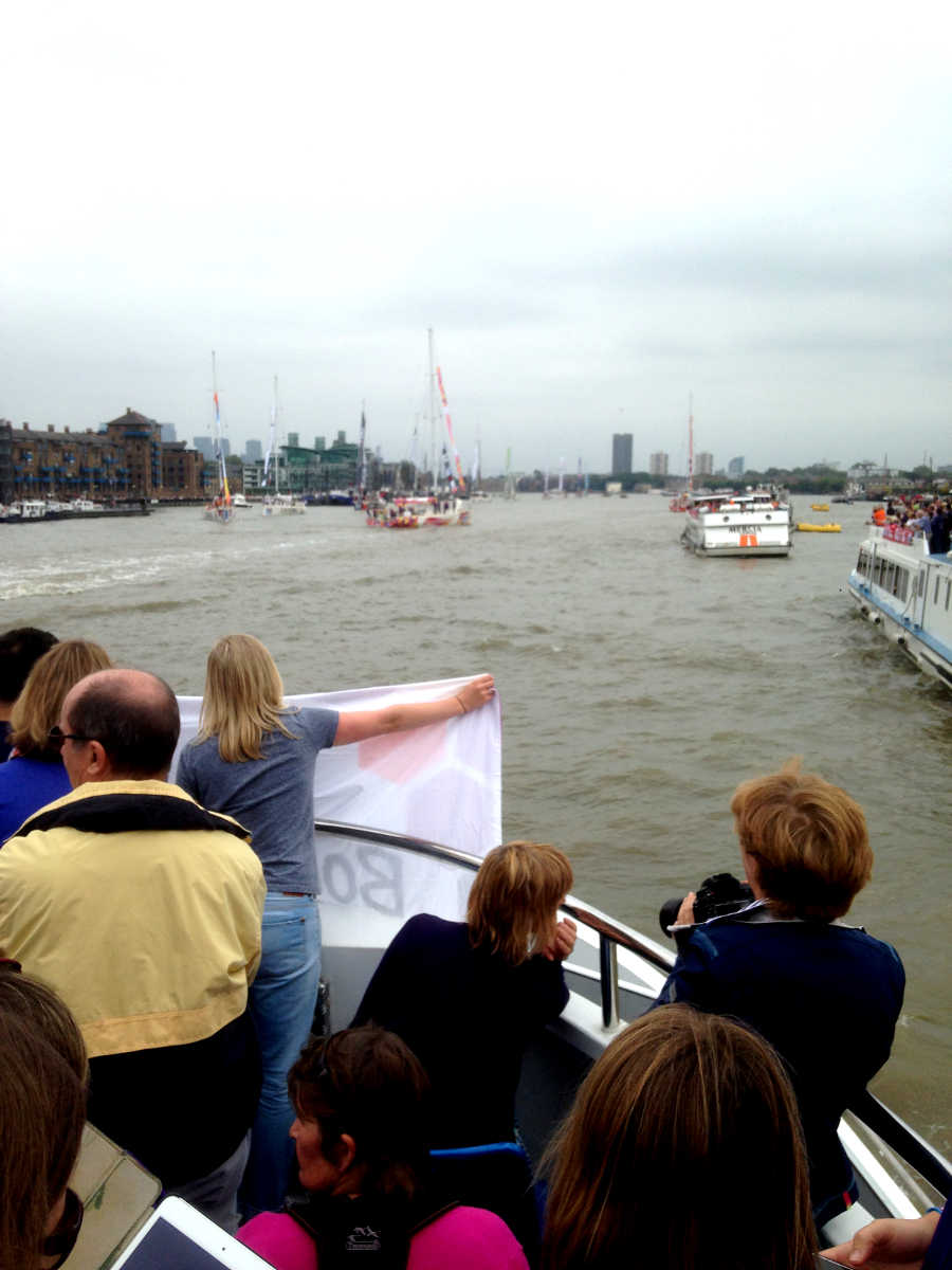 Banner deployed at bow of supporters' passenger boat