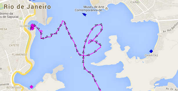 Track of DLD on map of Rio