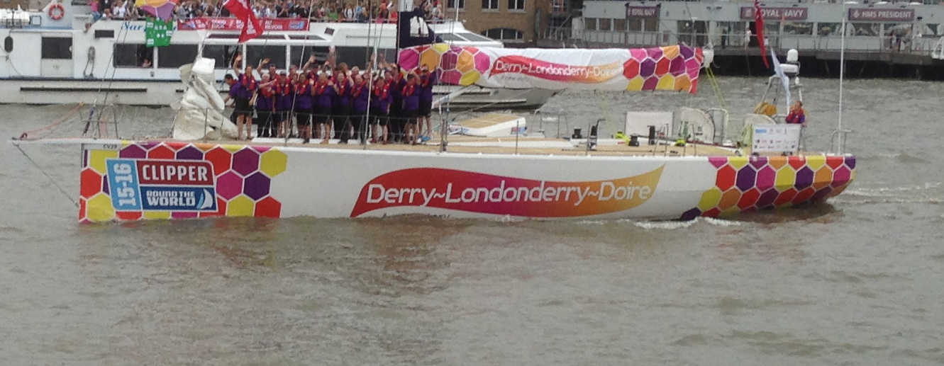 Crew of Derry-Londonderry-Doire crew on deck at departure